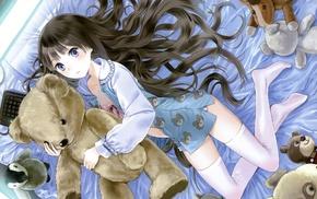 teddy bears, stockings, Kamisama no Memo Chou, anime girls, Shionji Yuuko