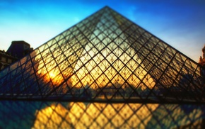 Париж, архитектура, солнечный свет, пирамида