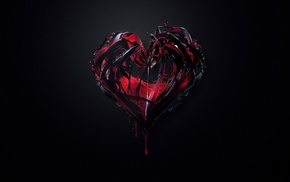heart, 3D, red, background, black