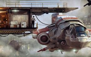 fantasy art, futuristic, spaceship, science fiction