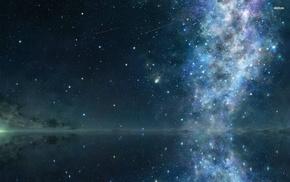 ночь, космос, звезды, вода, отражение