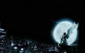 фантастическое исскуство, город, луна, ангел