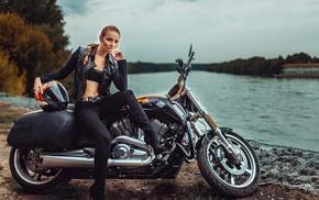 model, girl, black outfits, black pants