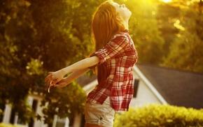 sunlight, profile, plaid, model, girl outdoors