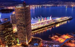 ночной город, природа, залив, набережная, canada, vancouver