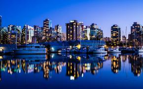 океан, канада, пристань, ночной город, vancouver, природа