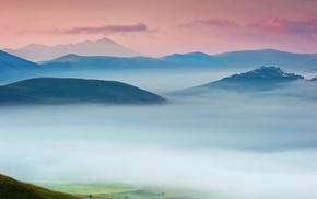 mist, hill, landscape