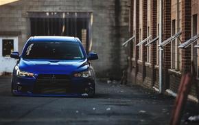 car, evo, blue cars, Mitsubishi Lancer Evo X, Mitsubishi