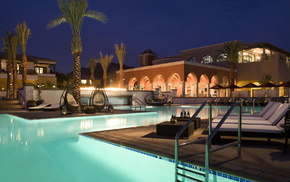 swimming pool, villa, evening, stunner, palm trees