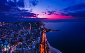 Chicago, sea, cityscape, night