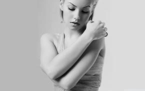 monochrome, Elisha Cuthbert, simple background, blonde