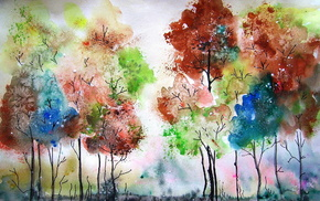 colors, painting, painting, stunner, trees