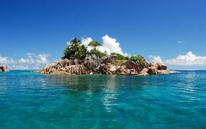 clouds, palm trees, sky, island, rocks