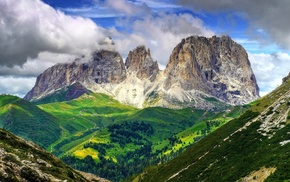 valley, nature, clouds, mountain, Italy