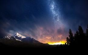 небо, пейзаж, горы