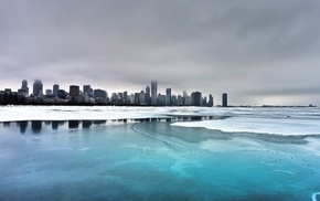 ice, cityscape, Chicago, clouds