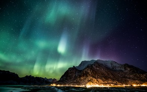 ночь, горы, огни, aurorae, звезды