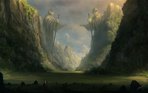 statue, horse, anime, fantasy art, field, cliff