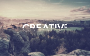 landscape, filter, blurred, typography, creativity