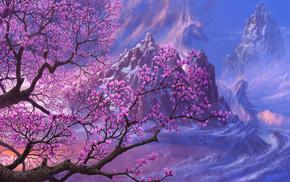painting, stunner, sakura, fantasy, mountain