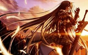 оригинальные персонажи, длинные волосы, меч, рыцари, закат