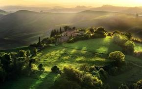 Tuscany, Italy, hill, landscape, sunlight, field