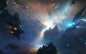 planet, spaceship