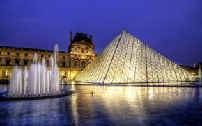 вечер, музей, города, France, архитектура, город