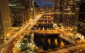 city, Chicago, cities, skyscraper, lights