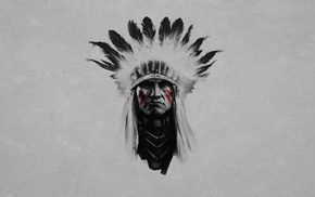 simple background, Native Americans, headdress, feathers, artwork, selective coloring