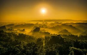 небо, природа, солнце, рассвет, горы, лес