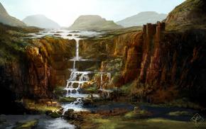 city, painting, mountain, stunner, waterfall