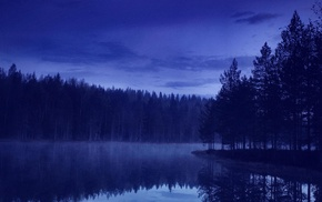 landscape, blue, water, forest, evening, reflection
