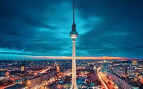Берлин, небо, освещение, города, ночь, Германия