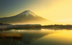 sunrise, mountain, Mount Fuji, lake, landscape