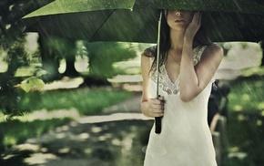 greenery, figure, sexy, girl, rain