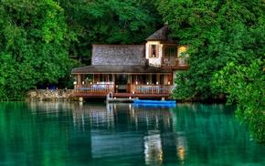 trees, resort, lodge, boat, rest