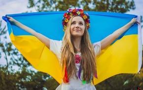 Ukraine, wreaths, flag, blonde, Ukrainians