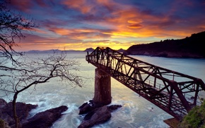 bridge, nature, sea, HDR, sunset
