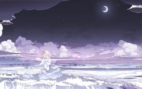 облака, белый, ночь, белое платье, девушки из аниме