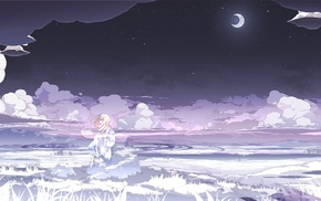 clouds, white, night, white dress, anime girls, stars