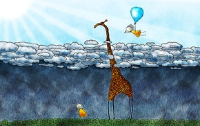 clouds, anime, artwork, rain, Vladstudio, balloons