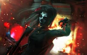 weapon, digital art, fire, concept art, Sugar Skull