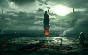ruin, planet, fantasy art, space, artwork, aliens