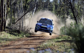 jumping, wrc, Subaru, car, rally cars, Subaru WRX STI