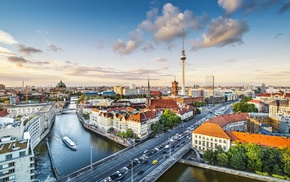 Berlin, building, bridge, car, river, boat