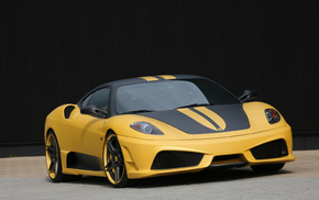 yellow, black, Ferrari, supercar, cars