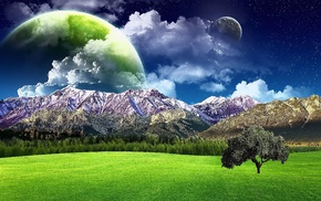 planets, field, trees, mountain, stunner