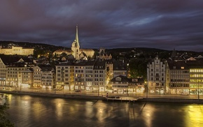 embankment, night, Switzerland, lighting, lights