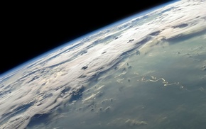 Earth, clouds, atmosphere, space